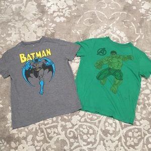 Boys set of 2 Crazy 8 Batman & Hulk tees